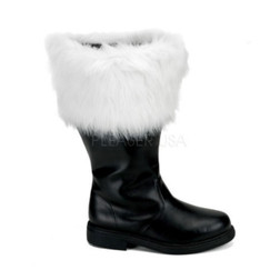 Wide Calf Santa Boots with Faux Fur Trim