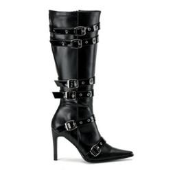 Black Buckle Spicy Stiletto Biker Boots