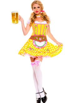 Yellow German Oktoberfest Dirndl Costume