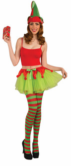 Red and Green Tiny Tulle Christmas Elf Tutu