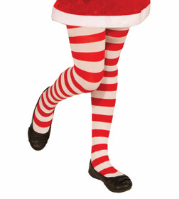 Kids Red and White Striped Tights