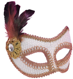 White Sequin Masquerade Mask