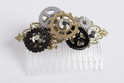 Steampunk Gear Hair Comb Accessory