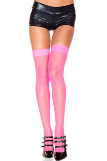 Sexy Fishnet Thigh Highs - Hot Pink