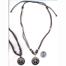 Leather '60s Peace Sign Necklace