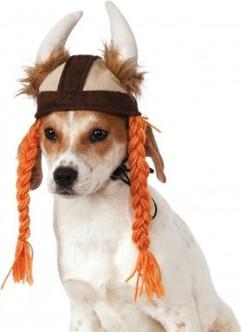 Dog Viking Hat with Braids Costume
