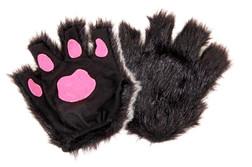 Child Fingerless Black Paw Gloves