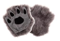 Child Fingerless Grey Paw Gloves