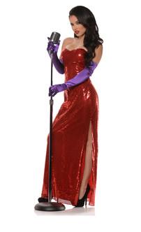 Ladies Bombshell Red Sequin Dress Costume