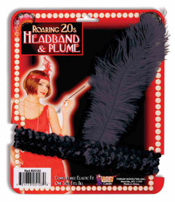 Black Flapper Headband  with Sequins and Feathers - Roaring 20s