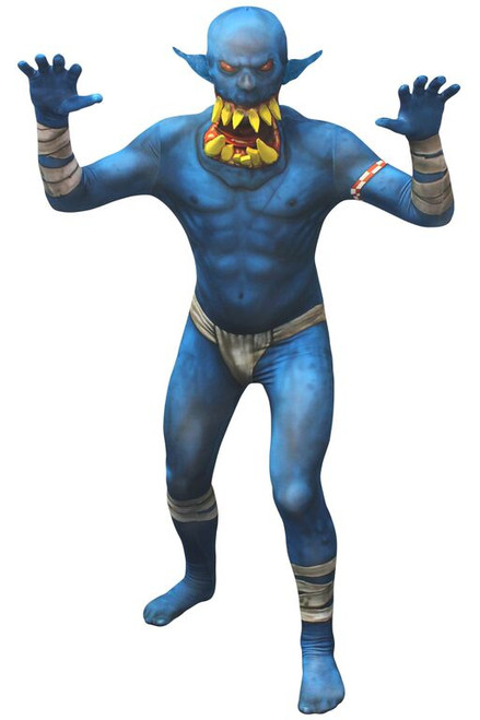ed9aa5728 CLEARANCE - Blue Orc Jaw Dropper Adult Morphsuit Costume