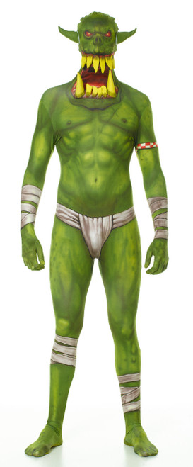 Green Orc Jaw Dropper Adult Morphsuit Costume