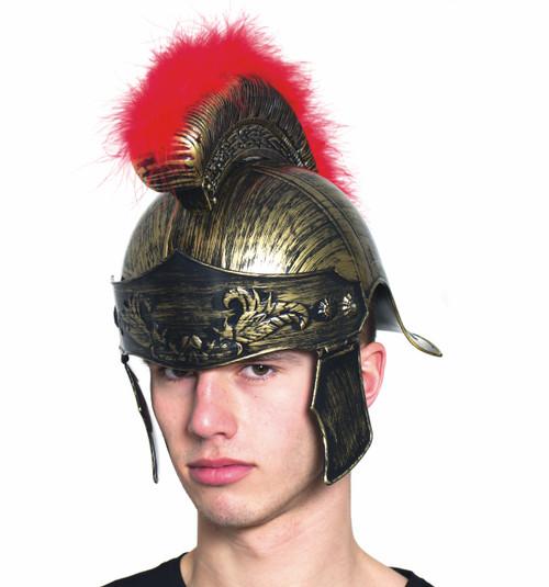 Roman Helmet with Red Brush