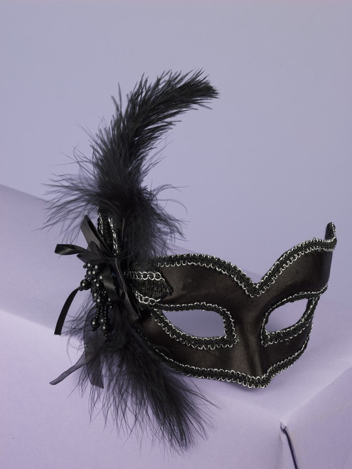 Black Satin Feathered Arm Mask