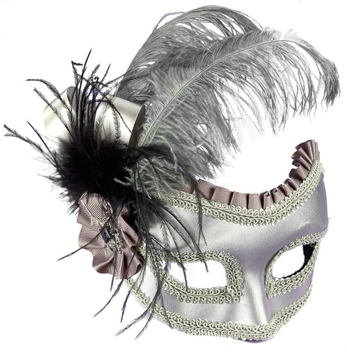 Grey Silver Satin Feathered Arm Mask