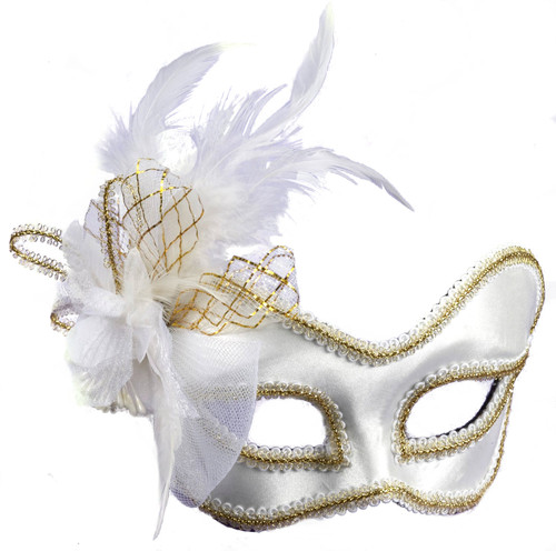 White Satin Feathered Arm Mask