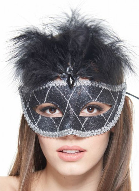 Diamond Feathers Masquerade Mask - 3 Colours
