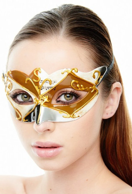 Diamond Music Masquerade Mask - Gold