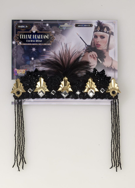 Black and Gold Flapper Crown/Headband - Roaring 20s