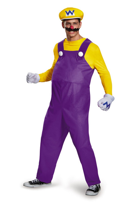 Super Mario Bros Wario Deluxe Mens Costume