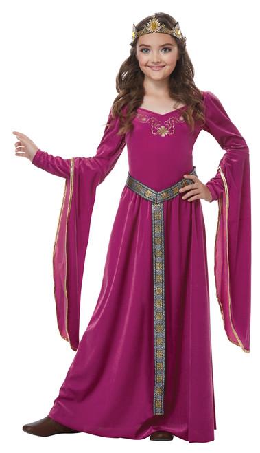 Medieval Burgundy Princess Children's Costume