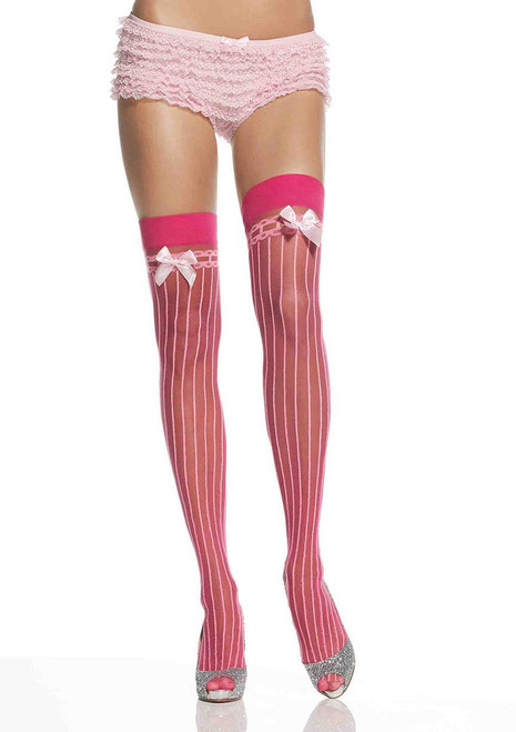 Ladies Pinstripe Thigh Highs with Bow Stockings