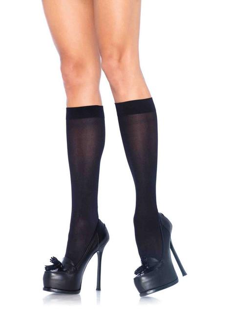 Opaque Black Knee High Socks