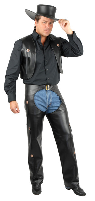 Black Leather Chaps & Vest
