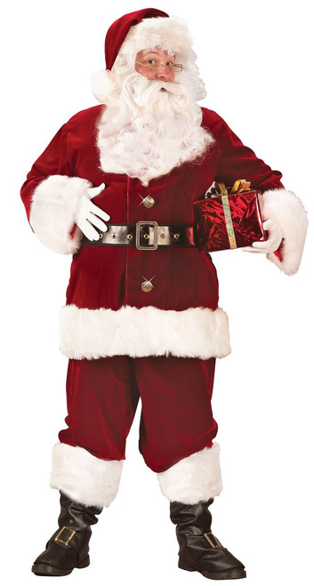 X-Large Super Deluxe Crimson Velvet Santa Suit Costume