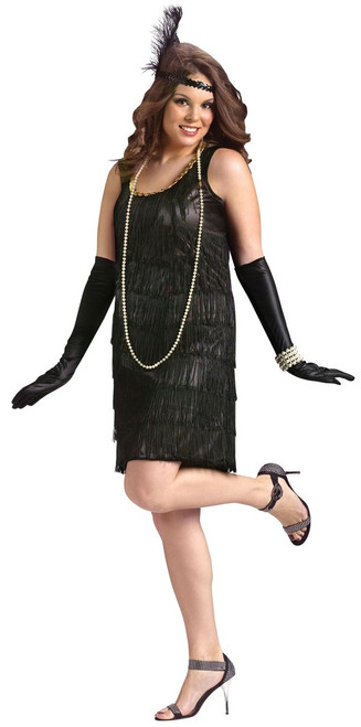 20s Black Flapper with Fringe Costume - Plus Size
