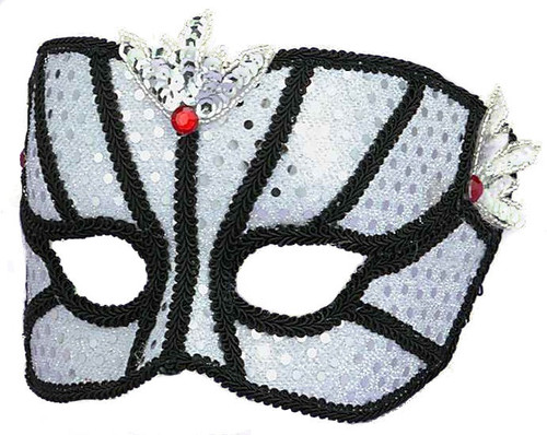 Karneval Black and White Headband Masquerade Mask