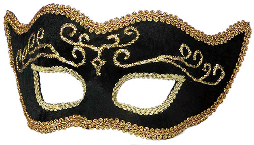 Black & Gold Trim Headband Masquerade Mask