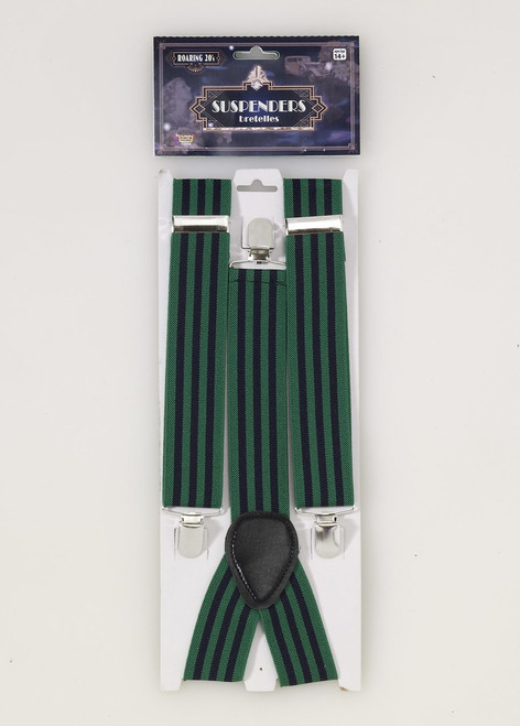 Roaring 20s Green and Blue Striped Suspenders