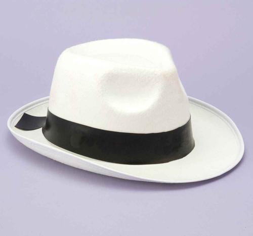 White Gangster Fedora Hat