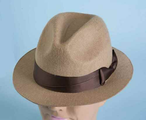Tan Gangster Fedora Hat