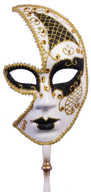 Gold Half Face Masquerade Mask with Stick