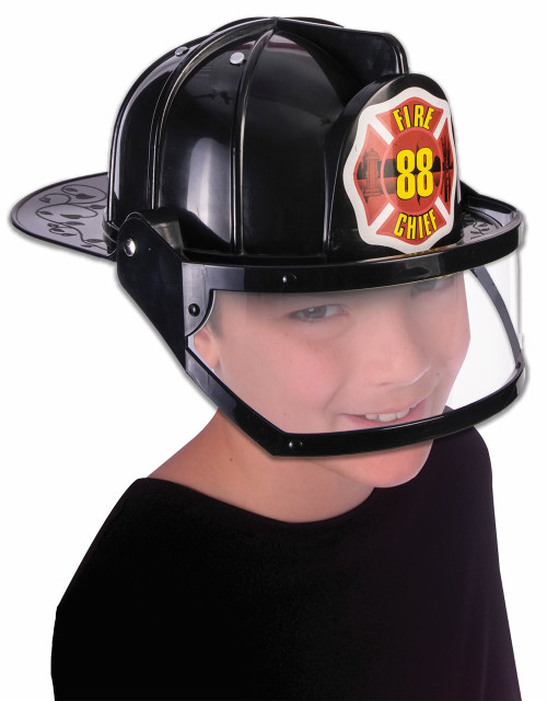 Childs Black Fire Hat Helmet