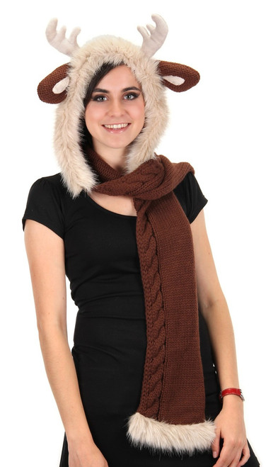 Cozy Reindeer Knit Hood Hat