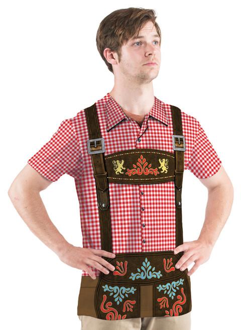 Mens Faux Oktoberfest Lederhosen Shirt