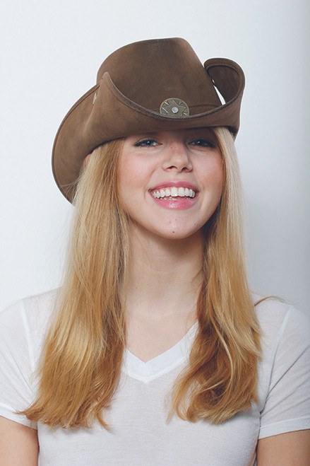 Leather-Like Brown Cowboy Hat