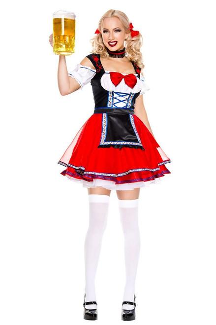 Ladies Red Oktoberfest Beer Babe Costume