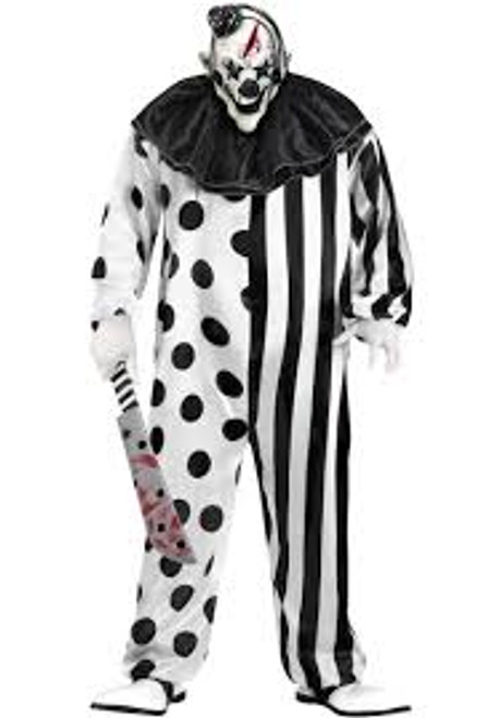 Adult Plus Black and White Clown Costume