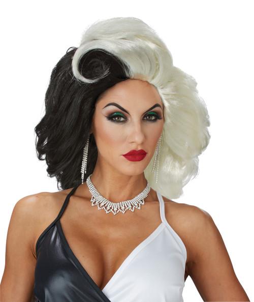 Cruel Diva Black and White Wig