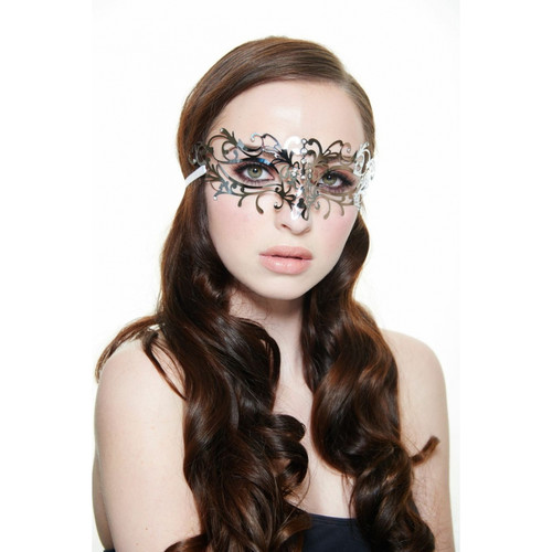 Silver Laser-Cut Masquerade Mask with Clear Rhinestones