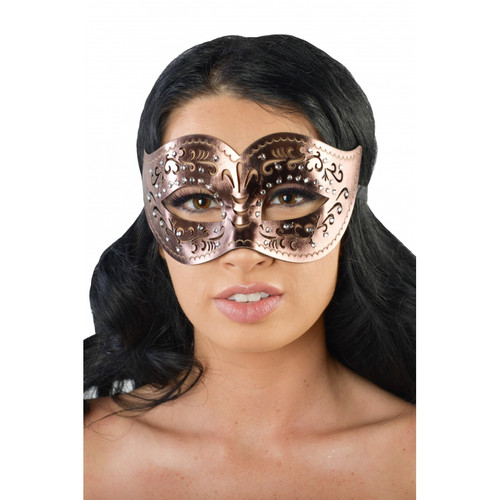 Bronze Faux-Leather Masquerade Mask with Clear Rhinestones