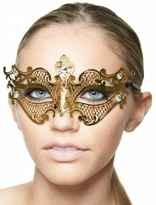 Gold Laser-Cut Masquerade Mask with Clear Rhinestones