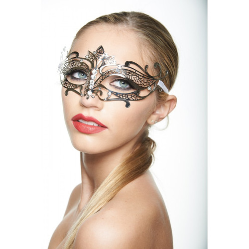 Laser-Cut Masquerade Mask - Silver with Clear Rhinestones