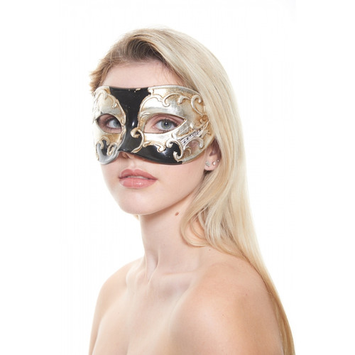 Black and Silver Musical Notes Molded-Plastic Masquerade Mask