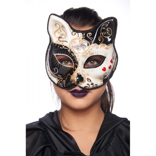 Black and Gold Molded-Plastic Masquerade Cat Mask