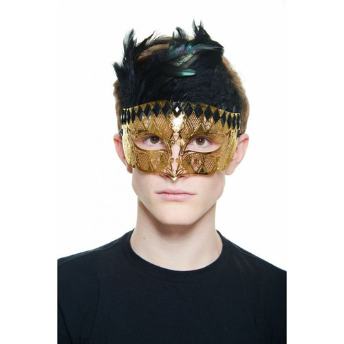 Gold Gladiator Laser-Cut Masquerade Mask with Black Rhinestones and Feathers